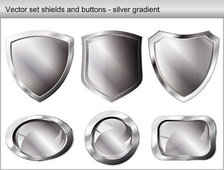방패: Vector illustration set. Shiny and glossy shield and button with silver colors. Abstract objects isolated on white background.