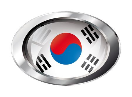 south korea shiny button flag vector illustration. Isolated abstract object against white background. Vector