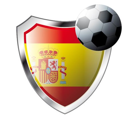 illustration - abstract soccer theme - shiny metal shield isolated on white background with flag of spain Stock Vector - 6905192