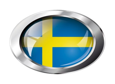 sweden: sweden shiny button flag vector illustration. Isolated abstract object against white background.