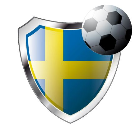 Vector illustration - abstract soccer theme - shiny metal shield isolated on white background with flag of sweden Vector