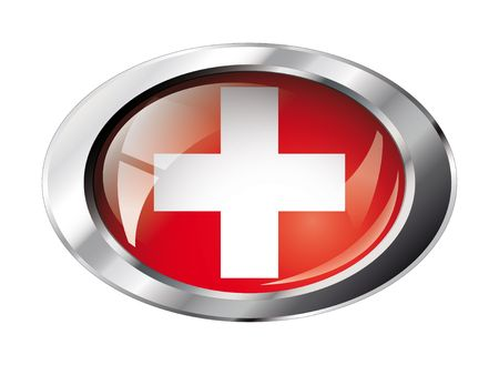 swiss flag: swiss shiny button flag vector illustration. Isolated abstract object against white background.
