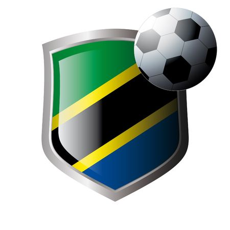 Vector illustration - abstract soccer theme - shiny metal shield isolated on white background with flag of tanzania Vector