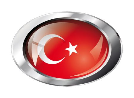 turkey shiny button flag vector illustration. Isolated abstract object against white background. Vector