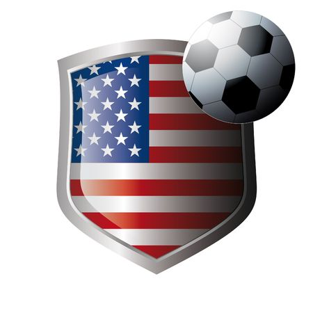 Vector illustration - abstract soccer theme - shiny metal shield isolated on white background with flag of usa - america Vector