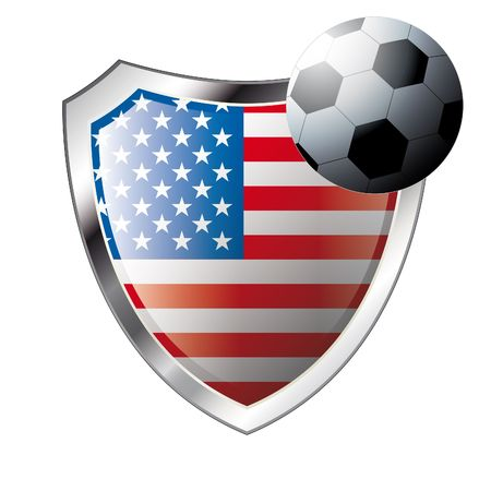 illustration - abstract soccer theme - shiny metal shield isolated on white background with flag of usa - america Stock Vector - 6905061