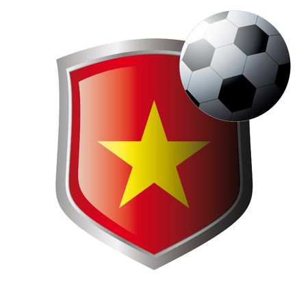 Vector illustration - abstract soccer theme - shiny metal shield isolated on white background with flag of vietnam Vector