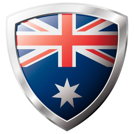 shiny metal: Australia flag on metal shiny shield vector illustration. Collection of flags on shield against white background. Abstract isolated object.