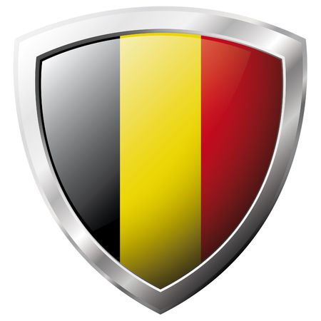 belgie: België vlag op glanzend metaal schild vector illustratie. Collectie van vlaggen op schild tegen witte achtergrond. Abstract geïsoleerde object.