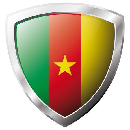cameroon: Bandiera Camerun sul metallo lucido scudo illustrazione vettoriale. Insieme di flag su scudo contro lo sfondo bianco. Oggetto isolato astratto.  Vettoriali