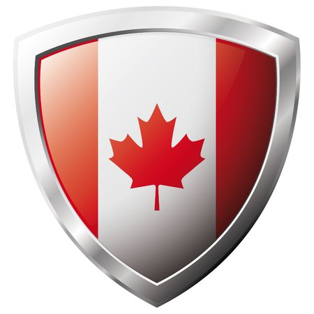 Canada flag on metal shiny shield vector illustration. Collection of flags on shield against white background. Abstract isolated object. Vector