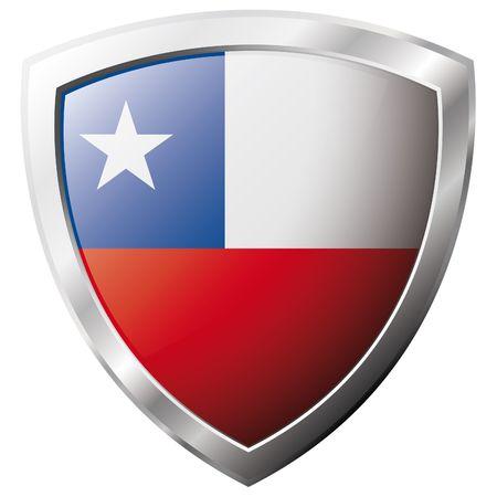 bandera de chile: Bandera de Chile en el metal brillante escudo ilustraci�n vectorial. Colecci�n de banderas en escudo contra el fondo blanco. Objeto aislado abstracta.  Vectores