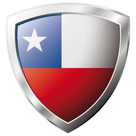 chile flag: Chile flag on metal shiny shield vector illustration. Collection of flags on shield against white background. Abstract isolated object. Illustration