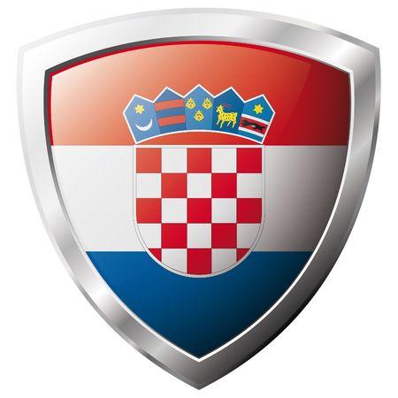 bandiera croazia: Bandiera della Croazia sul metallo lucido scudo illustrazione vettoriale. Insieme di flag su scudo contro lo sfondo bianco. Oggetto isolato astratto.