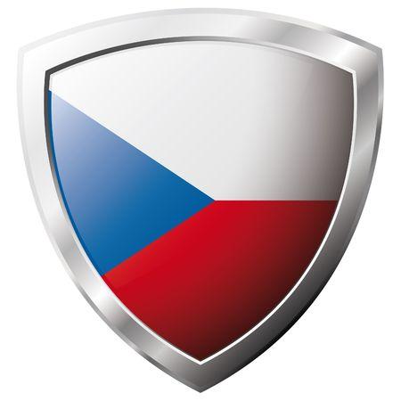 czech flag: Ceco bandiera sul metallo lucido scudo illustrazione vettoriale. Insieme di flag su scudo su sfondo bianco. Oggetto isolato astratto.
