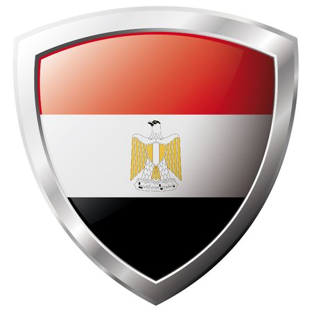 Egypt flag on metal shiny shield vector illustration. Collection of flags on shield against white background. Abstract isolated object. Stock Vector - 6905422