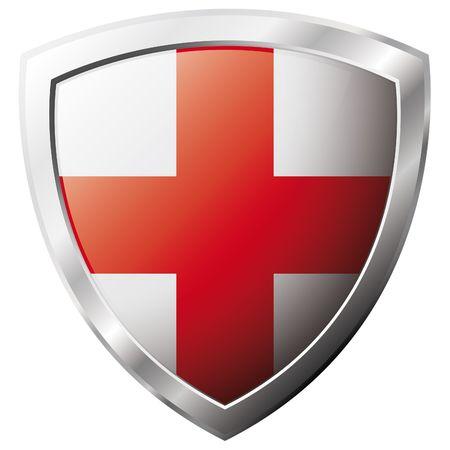 bandera inglaterra: Bandera de Inglaterra en el metal brillante escudo ilustraci�n vectorial. Colecci�n de banderas en escudo contra el fondo blanco. Objeto aislado abstracta.  Vectores