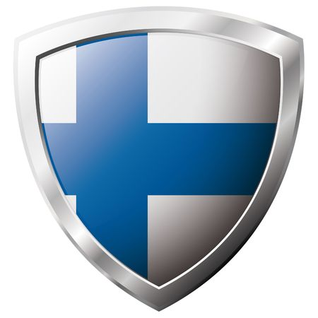 finland flag: Finland flag on metal shiny shield vector illustration. Collection of flags on shield against white background. Abstract isolated object. Illustration