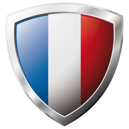 flag france: Drapeau de la France sur m�tal brillant bouclier illustration vectorielle. Collection de drapeaux sur le bouclier sur fond blanc. Abstract objet isol�. Illustration