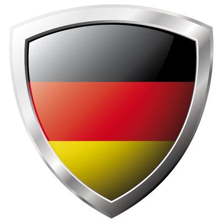 bandera alemania: Bandera de Alemania en el metal brillante escudo ilustraci�n vectorial. Colecci�n de banderas en escudo contra el fondo blanco. Objeto aislado abstracta.  Vectores