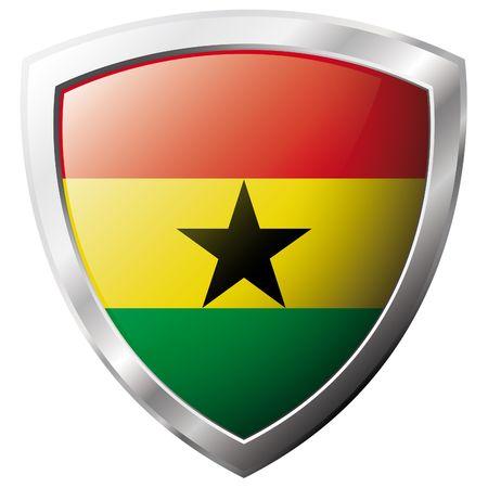 ghana: Drapeau du Ghana sur m�tal brillant bouclier illustration vectorielle. Collection de drapeaux sur le bouclier sur fond blanc. Abstract objet isol�. Illustration