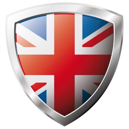 bandiera gran bretagna: Bandiera della Gran Bretagna sul metallo lucido scudo illustrazione vettoriale. Insieme di flag su scudo contro lo sfondo bianco. Oggetto isolato astratto.