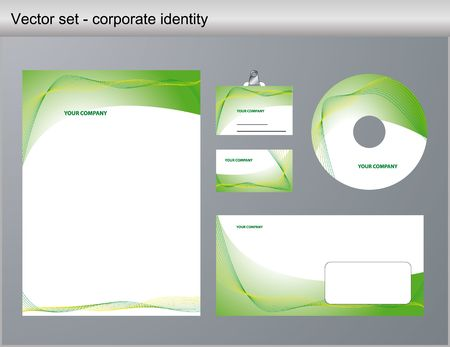 illustration of green corporate identity. Letterhead, business card, compact disc and postcard with abstract green background.