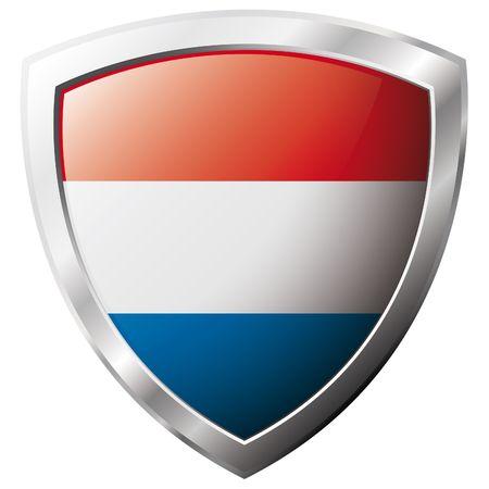 olanda: Holland bandiera sul metallo lucido scudo illustrazione vettoriale. Insieme di flag su scudo contro lo sfondo bianco. Oggetto isolato astratto.