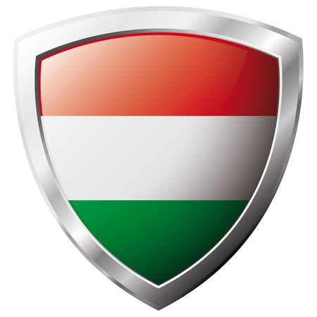 Hungary flag on metal shiny shield vector illustration. Collection of flags on shield against white background. Abstract isolated object. Stock Vector - 6905891