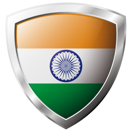 India flag on metal shiny shield vector illustration. Collection of flags on shield against white background. Abstract isolated object. Stock Vector - 6906197