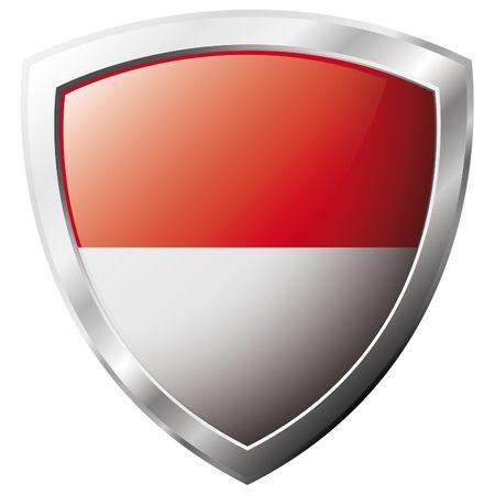 indonesien: Indonesien-Flag on shiny Metal shield Vektor-Illustration. Sammlung von Flags auf Schild against white Background. Abstrakt isoliert Objekt.