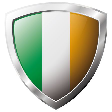 Ireland flag on metal shiny shield vector illustration. Collection of flags on shield against white background. Abstract isolated object. Vector