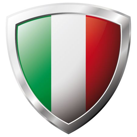 Italy flag on metal shiny shield vector illustration. Collection of flags on shield against white background. Abstract isolated object.
