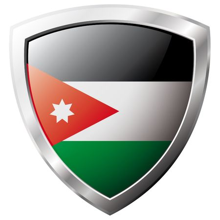 Jordan flag on metal shiny shield vector illustration. Collection of flags on shield against white background. Abstract isolated object. Vector