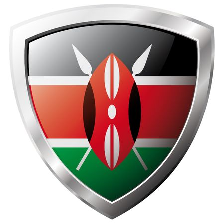 kenya: Kenya flag on metal shiny shield vector illustration. Collection of flags on shield against white background. Abstract isolated object.