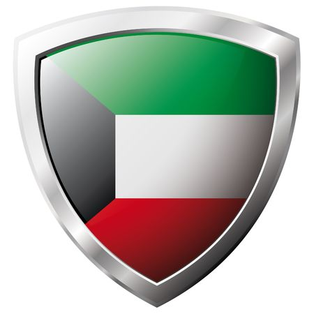 Kuwait flag on metal shiny shield vector illustration. Collection of flags on shield against white background. Abstract isolated object. Vector