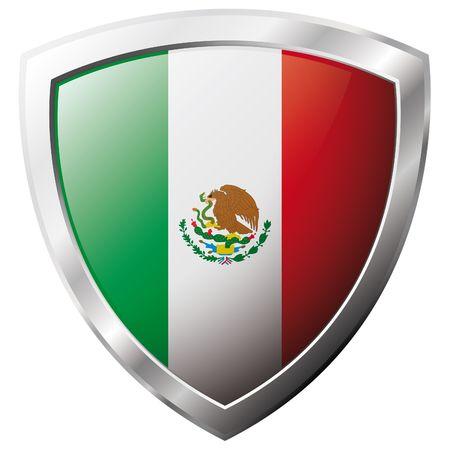 bandera mexico: Bandera de M�xico en el metal brillante escudo ilustraci�n vectorial. Colecci�n de banderas en el escudo contra el fondo blanco. Objeto aislado abstracta.