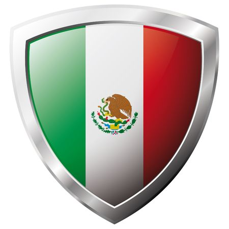shiny metal: Mexico flag on metal shiny shield vector illustration. Collection of flags on shield against white background. Abstract isolated object.