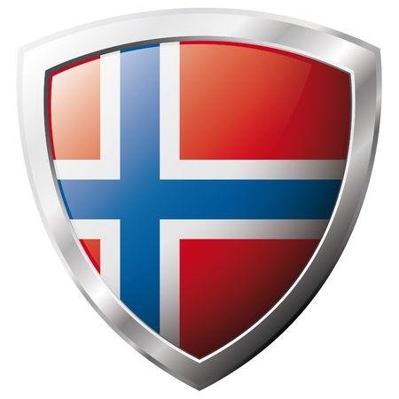 Bandera de Noruega en el metal brillante escudo ilustración vectorial. Colección de banderas en escudo contra el fondo blanco. Objeto aislado abstracta.