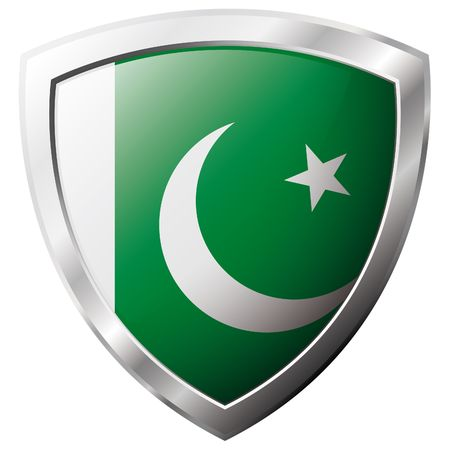 Pakistan flag on metal shiny shield vector illustration. Collection of flags on shield against white background. Abstract isolated object. Vector