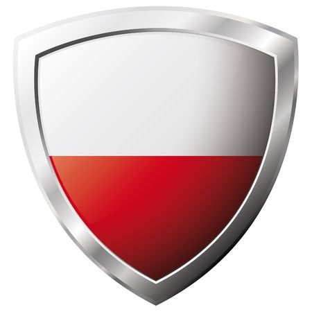 Poland flag on metal shiny shield vector illustration. Collection of flags on shield against white background. Abstract isolated object. Stock Vector - 6905923