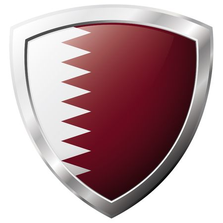 Qatar flag on metal shiny shield vector illustration. Collection of flags on shield against white background. Abstract isolated object. Stock Vector - 6906189