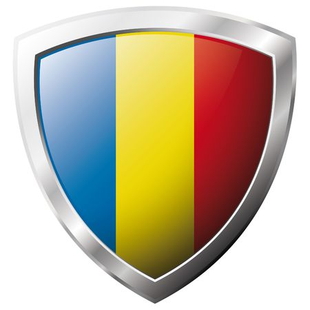 Romania flag on metal shiny shield vector illustration. Collection of flags on shield against white background. Abstract isolated object. Vector