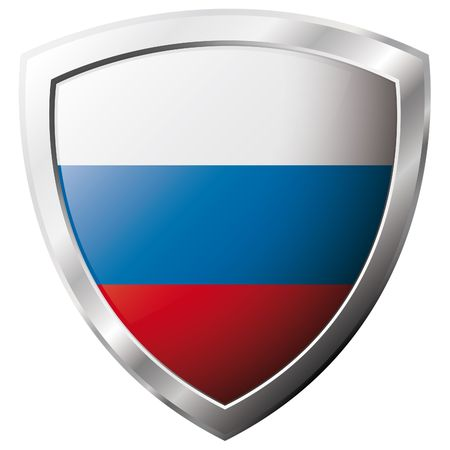 Russia flag on metal shiny shield vector illustration. Collection of flags on shield against white background. Abstract isolated object. Stock Vector - 6905916
