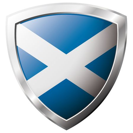shiny metal: Scotland flag on metal shiny shield vector illustration. Collection of flags on shield against white background. Abstract isolated object. Illustration