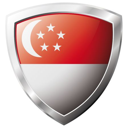 shiny metal: Singapore flag on metal shiny shield vector illustration. Collection of flags on shield against white background. Abstract isolated object.