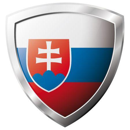 slovakia: Bandiera della Slovacchia sul metallo lucido scudo illustrazione vettoriale. Insieme di flag su scudo contro lo sfondo bianco. Oggetto isolato astratto.