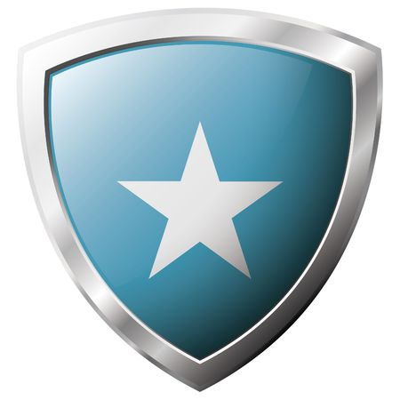 Somalia flag on metal shiny shield vector illustration. Collection of flags on shield against white background. Abstract isolated object. Vector