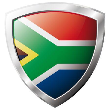 Afrique du Sud flag sur métal bouclier illustration vectorielle brillant. Collection de drapeaux sur le bouclier contre le fond blanc. Résumé objet isolé.