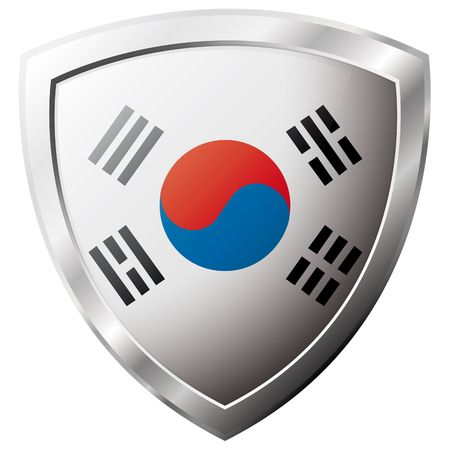 korea flag: South Korea flag on metal shiny shield vector illustration. Collection of flags on shield against white background. Abstract isolated object.